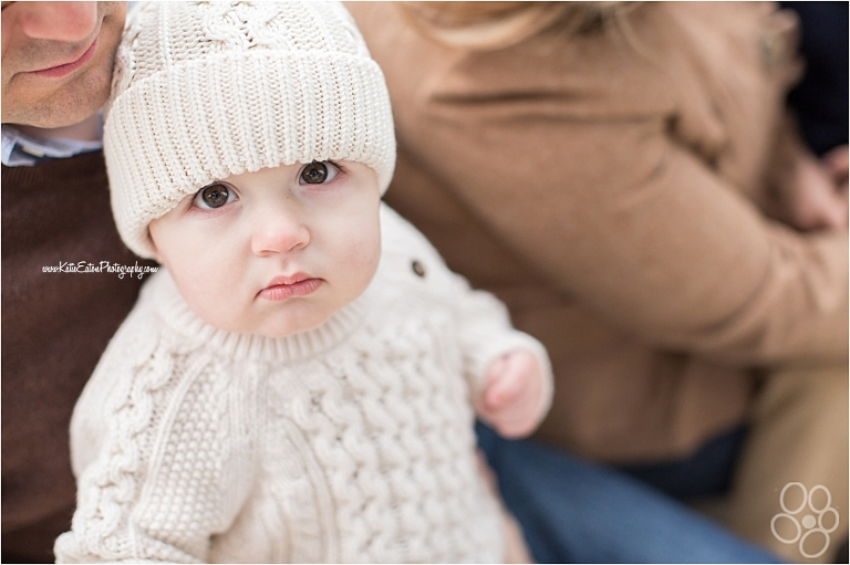 A baby with a knit hat