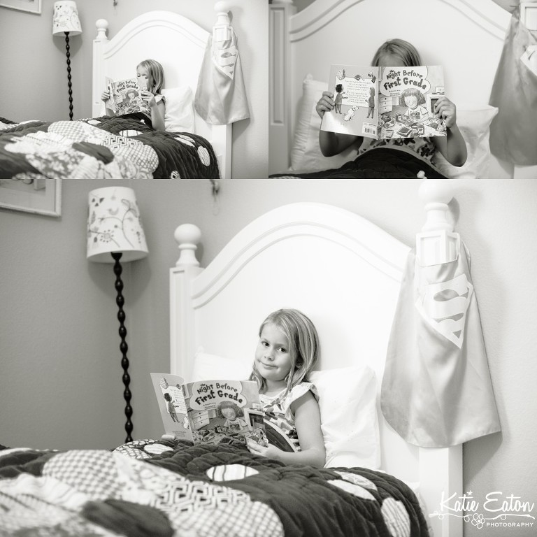 Fun images of a child on the night before first grade by Katie Eaton-2
