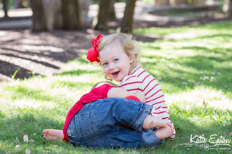 Fun images of a six month old taken at the arboretum by Katie Eaton Photography-9